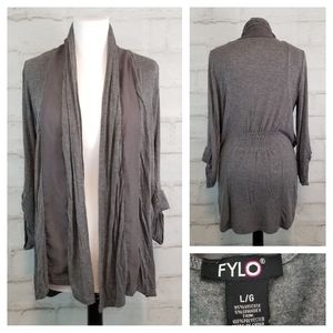 Fylo L 3/4 Sleeve Ultra-Thin Open-Front Cardigan